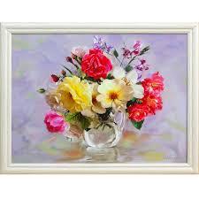 <b>Картина в раме РУССКАЯ</b> КОЛЛЕКЦИЯ Розы в кувшинчике ...