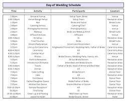 Wedding Day Timeline Excel Day Of Wedding Schedule Template Woodnartstudio Co
