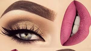 gold eye pink lips makeup tutorial