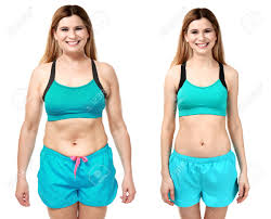 Weight Loss For Women Young Woman Before And After Weight Loss On White Background