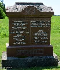Ancestral Trails Genealogy ~ Life in the Past Lane - Tombstone, Archibald  Ferguson (1816-1892), his wife Christina Sinclair, their children Catherine  (1841-1931), Donald (?-1846), Mary (?-1869), Christy Ann (?-1873), Margaret  (?-1871), Elizabeth (?-