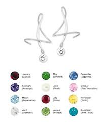 Birthstone Crystals Chart Earspirals Earrings Round Swarovski Crystal Birthstone Sterling Silver
