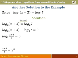 logarithm solve for x math log equations math 3 exponential and logarithmic equations and problem solving