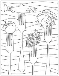 Small Picture Printable Coloring Page for National Nutrition Month Food and