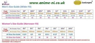 vibram size chart vibram five fingers uk sizing anime ni co uk