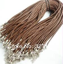 new fashion jewelry necklace 100pcs brown woven leather cord necklace diy leather necklace for women pendant