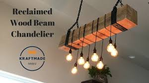 reclaimed wood beam chandelier kraftmade