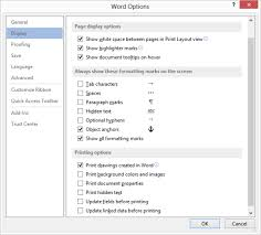 the display options in the word options dialog box