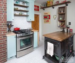 subway tile backsplash with wood countertops and butcher blocks and vintage interior style