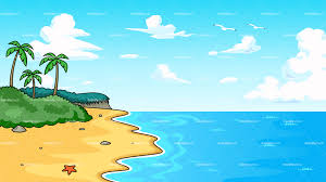 tropical beach with serene waters background vector cartoon clipart