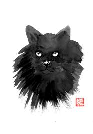 saatchi art artist pechane sumie painting black cat art