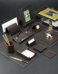 cocoa brown leather desk pad and accessories set