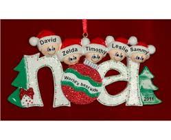 Noel Wishes for 5 Children Family Christmas Ornament