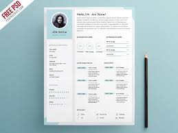 Free Clean And Minimalist CV Resume Template In Photoshop PSD Classy Minimalist Resume