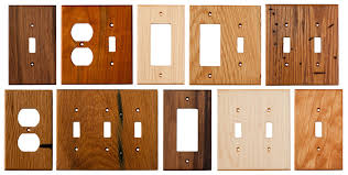 an assortment of our wood wall plates wood switch plates and electrical covers