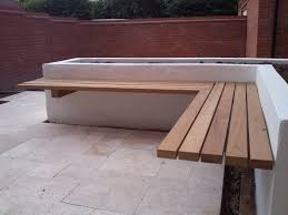 terrific outdoor bench idea with marvelous wooden seating bench design hanged at stunning white wall idea