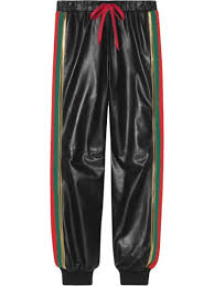 gucci leather jogging pant with web 3 500 aw19 fast global delivery