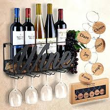 wine bottle glass holder wall mounted wine rack bottle glass holder cork storage red white champagne come with 6 cork wine charms home kitchen storage