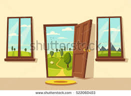 open door welcome. Exellent Welcome Open Door Valley Landscape Cartoon Vector Illustration Vintage Poster  Welcome To Real To Door