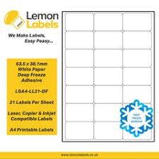 21 labels per sheet ; Lsa4 Ll21 63 5 X 38 1mm White Paper With Permanent Adhesive Labels Lemon Labels