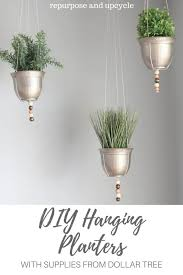 diy hanging planters with supplies from the dollar tree