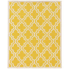linon home decor silhouette quatrefoil yellow and white 5 ft x 7 ft indoor