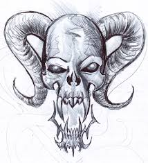 drawn skull cool