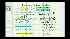 ex find the intercepts and asymptotes of a rational function