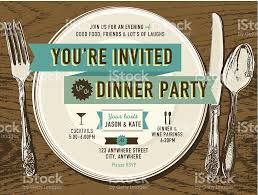 elegant dinner party invitation design template placesetting on elegant dinner party invitation design template placesetting on oak background royalty stock vector art