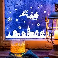 Fensterbild Weihnachtsmann An Weihnachten Winter Fensterdeko Fensterbilder Winterlandschaft Sterne Schneeflocken M2263