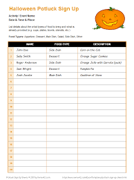Word Halloween Templates Potluck Sign Up Sheet Halloween Potluck Sign Up Sheet Template Word