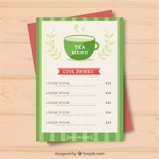 Tea Menu Template With Drinks Nohat