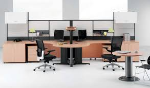 ... Smart And Exciting Office Cubicles Design Ideas : Identical Curve L  Shape Office Cubicles Desk With ...