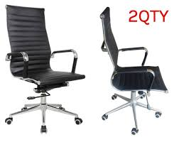 eames reproduction office chair. Eames Replica High Back Office Chair BLACK PU Leather - PACK Of 2 Chairs Reproduction E