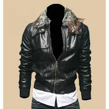 men s leather biker jacket with faux fur collar biker leather jacket