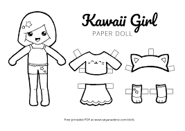 Free Printable Kawaii Paper Dolls Colouring Pages
