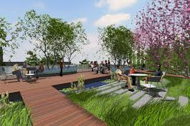 the smaller more private condo buildings step down the hillside and have private roof garden spaces with dipping tubs a larger common garden is placed on