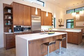 Delightful Mid Century Kitchen Remodel With Wood Kitchen Cabinet System A White Top  Kitchen Island With Photo Gallery