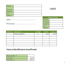 formato para facturas en excel ejemplo de factura rectificativa en excel modelo plantilla
