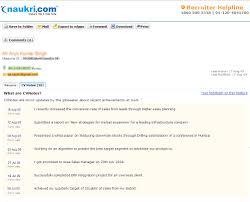 My Naukri Naukri Com Free Resume Search Resume Samples