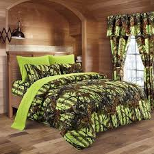 27 pc lime camo full size bedding set
