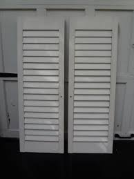 1 set vintage house interior exterior white wood louvered window shutters 15x44
