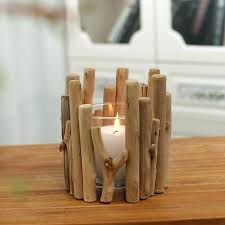 wood candle holder wooden with glass cup tea light candlestick diy wall black rustic holders pillar