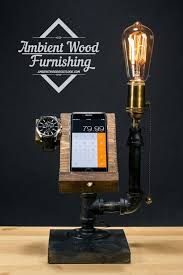 industrial lighting diy. industrial pipe lamp with wood watch u0026 phone by ambientwood lighting pinterest pipes and docking station diy c
