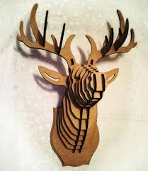 deer head 3d puzzle animal head cardboard animal head mdf deer head wood sculpture wood deer wall decor hunting trophy stag head