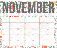 November Through November Calendars Download November 2018 Pdf Word Excel Calendar Free Free Printable