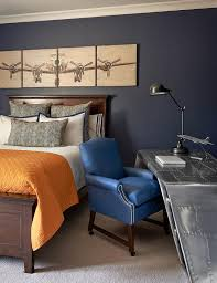 blue and orange boy bedroom with aviator wing desk
