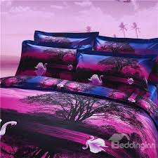 77 3d white swans in water printed polyester 4 piece purple bedding sets duvet covers