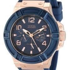 guess men s u0247g3 rigor standout sport blue and rose gold tone guess men s u0247g3 rigor standout sport blue and rose gold tone casual watch