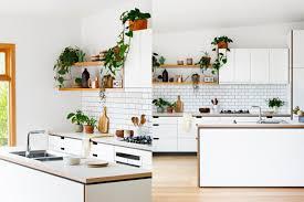 Cocinas Blancas Pequeñas Decoradas Con Mucho Encanto, Estanterías De Madera  Flotantes Y Decoración Con Plantas